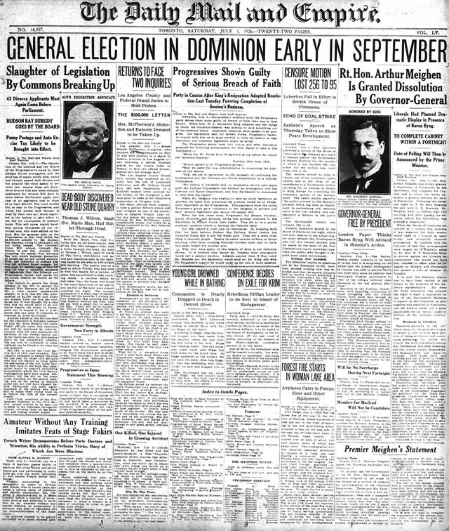 Front page, Mail and Empire, July 3, 1926
