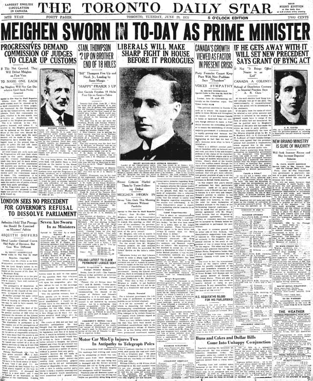 Front page, Toronto Star, June 29, 1926