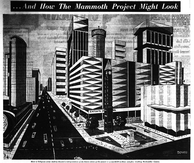 Before Eaton's revealed models of its proposed Eaton Centre, local cartoonist drew their own visions based on early descriptions  Here's Andy Donato's from the September 10, 1965 edition of the Telegram