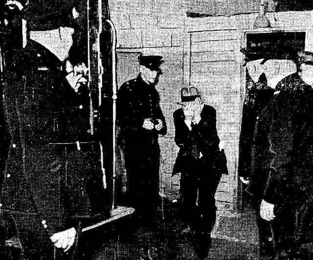 A found in being led out of the Brown Derby during a raid, from the Star (June 16, 1938)