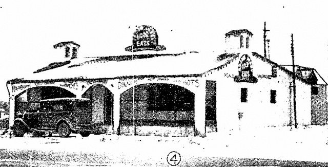 Exterior of the Brown Derby after an early 1935 police raid, from the Star (February 18, 1935)
