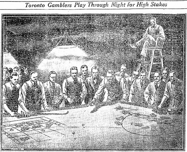 Artist's depiction of a table games at an unnamed Lake Shore Road gambling den, from the Star (January 30, 1929)