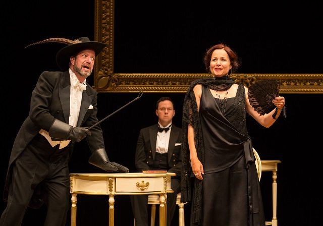 C  David Johnson, left, Gregory Prest, and Raquel Duffy star in Soulpepper Theatre's reboot of Ferenc Molnár's classic farce, The Play's the Thing  Photo by Cylla von Tiedemann