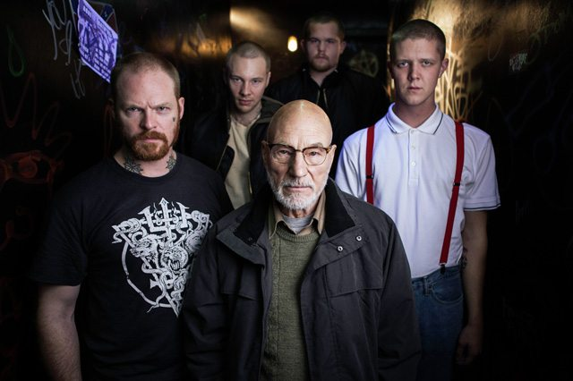 Sir Patrick Stewart and his unhappy neo Nazi friends in Green Room. Photo courtesy of TIFF