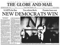 Front page, Globe and Mail, September 7, 1990.