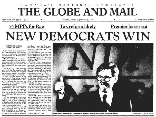 Front page, Globe and Mail, September 7, 1990