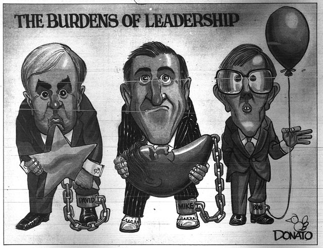 David Peterson chained by the Patti Starr affair, Mike Harris chained by Brian Mulroney, and Bob Rae chained to a balloon  Cartoon by Andy Donato, Toronto Sun, September 2, 1990