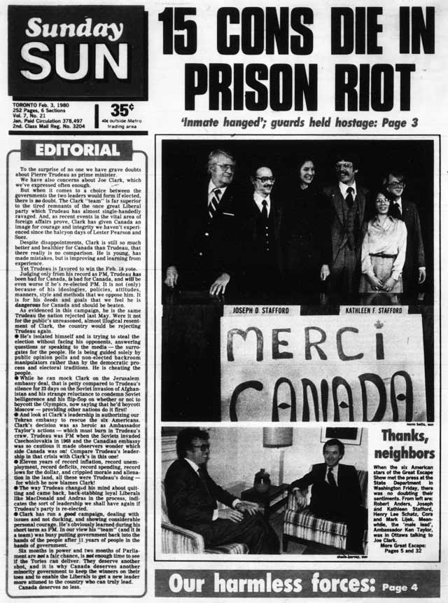 Front page, Toronto Sun, February 3, 1980