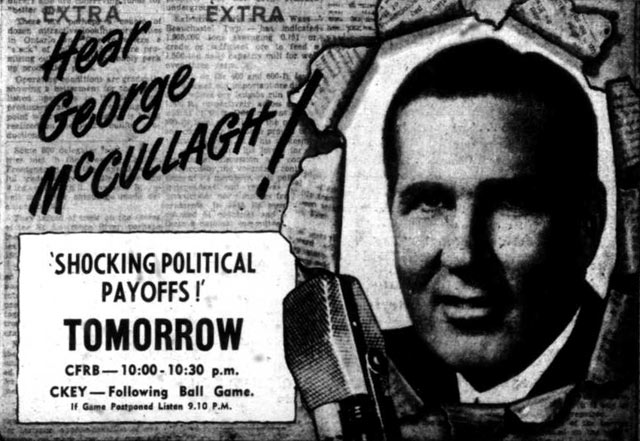 Advertisement for George McCullagh radio speech where he supported the Tories and attacked the Toronto Star  The Telegram, June 23, 1949