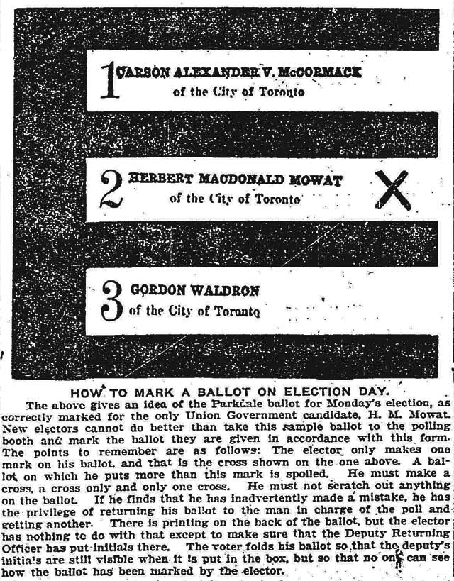 How to fill out a ballot in Parkdale for the 1917 federal election  Graphics such as these were used by many papers to depict how they felt readers should vote  Toronto Star, December 14, 1917