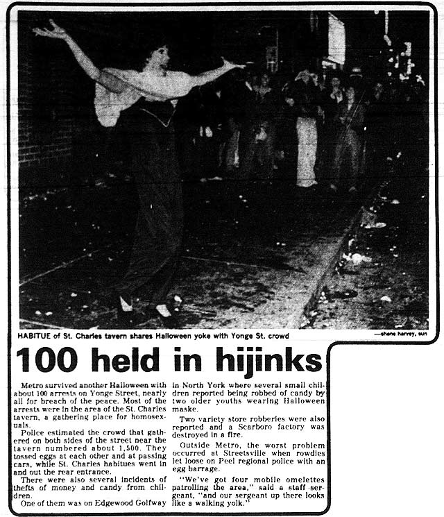 Source: Toronto Sun, November 1, 1979  A similar photo in The Body Politic noted this was the only drag queen to enter via the front door of the St  Charles Tavern that year