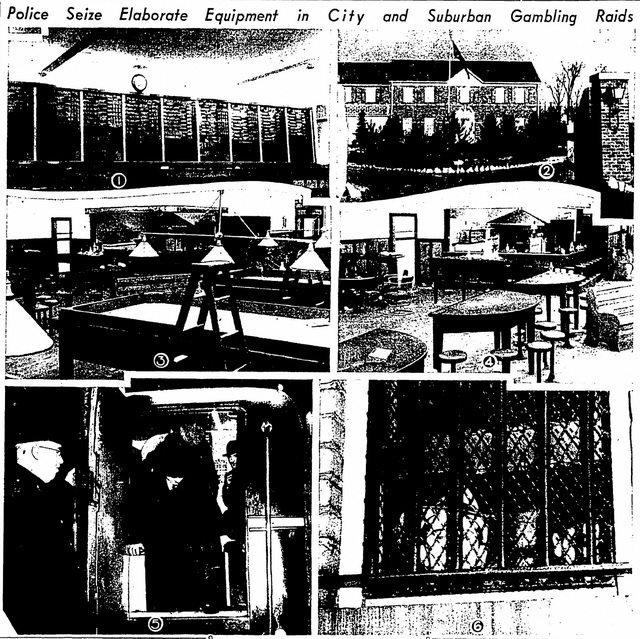 Exterior and interior views of the Combine Club, after a police raid in late 1940 from the Globe and Mail (November 18, 1940)