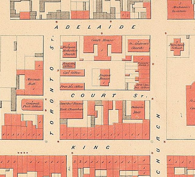 Toronto Street and vicinity, 1858  Detail from W S  Boulton's Atlas of the City of Toronto and Vicinity (1858)  From Old Toronto Maps