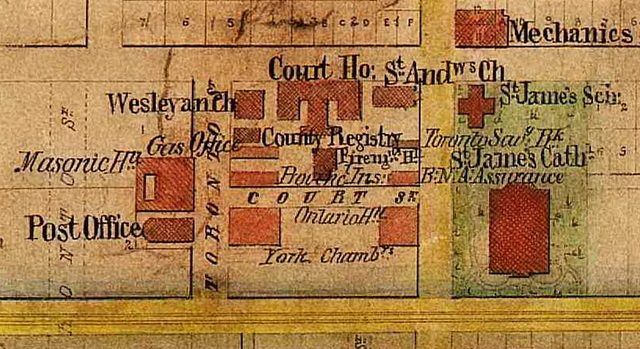 Toronto Street and vicinity, 1862  Detail from H J  Browne's Plan of the City of Toronto (1862)  From Old Toronto Maps