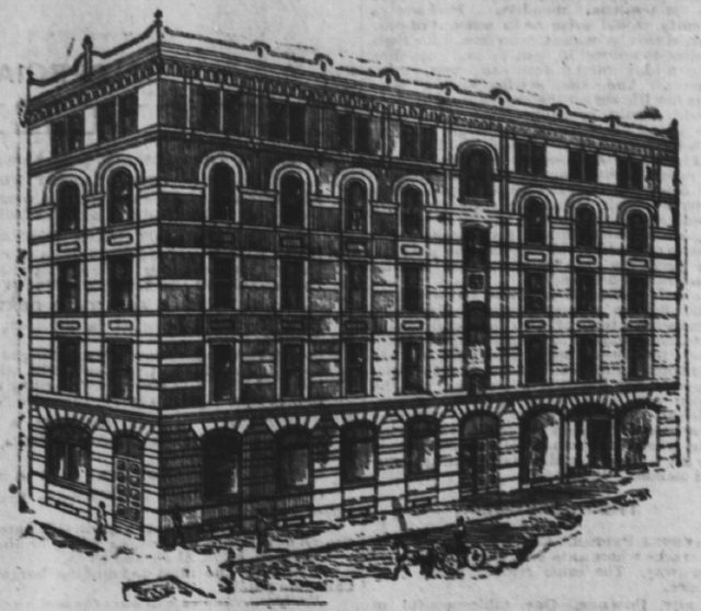 Quebec Bank built on northwest corner of Toronto and King streets in 1886  From the Globe (May 15, 1886)