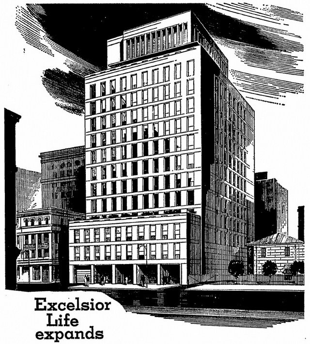 The Excelsior Life building which replaced the Masonic Hall, as seen from its Victoria Street frontage  Detail of advertisement from the Globe and Mail (April 14, 1964)
