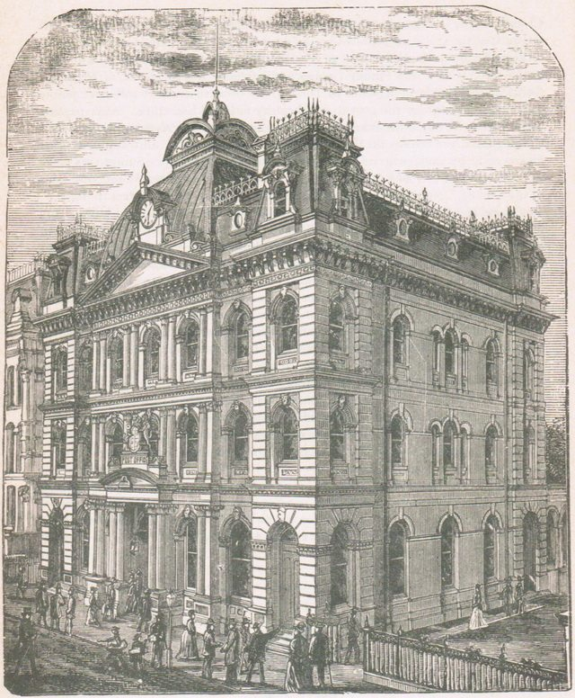 Illustration of the Union Block on Toronto Street from C P  Mulvany, Toronto: Past and Present (W E  Caiger, 1884)