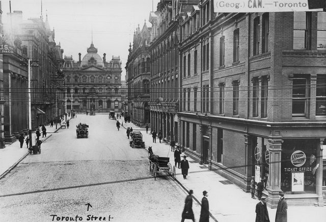 William James family's photo looking north on Toronto Street from King Street East, between 1908 and 1909  From the City of Toronto Archives, Fonds 1244, Item 1176