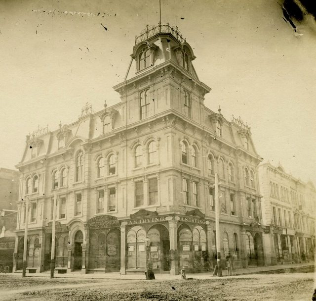 Union Block, southwest corner of Toronto Street and Adelaide Street East, 1876  Detail from the Toronto Public Library's digital collection
