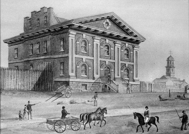 John George Howard watercolour of Jail (1827 1840), northeast corner of King Street East and Toronto Street, 1835  From the Toronto Public Library's digital collection