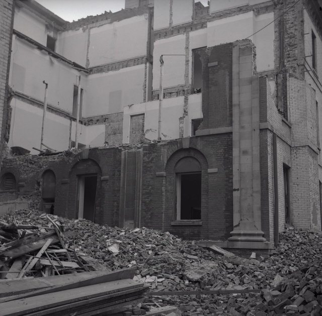 James Victor Salmons's photo of York Chambers, the former Jail (1827 1840), on the southeast corner of Toronto Street and Court Street, during demolition on August 25, 1957  From the Toronto Public Library's digital collection