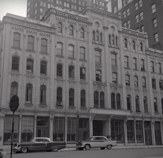James Victor Salmon's photo of the Masonic Hall Buildings, west side of Toronto Street, 1957  From the Toronto Public Library's digital collection