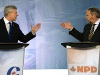 Stephen Harper and Thomas Mulcair practice their karate.