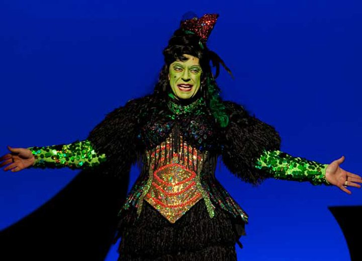 Petty always played the villain, like the Wicked Witch in the 2011 panto based on the Wizard of Oz  Image courtesy of Ross Petty Productions