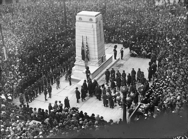 "When this photo appeared in the November 12, 1925 edition of the Globe, the caption read: ""The picture was taken by the Globe staff photographer shortly after the cenotaph had been unveiled by his Excellency, and before the hundreds of wreaths which now cover the base of the monument had been deposited in token of remembrance by the relatives and friends of the noble dead to whom the memorial is erected "" City of Toronto Archives, Globe and Mail fonds, Fonds 1266, Item 6584"