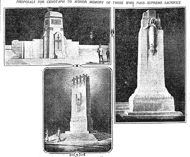 Three of the potential designs for the cenotaph  Toronto Star, October 27, 1924