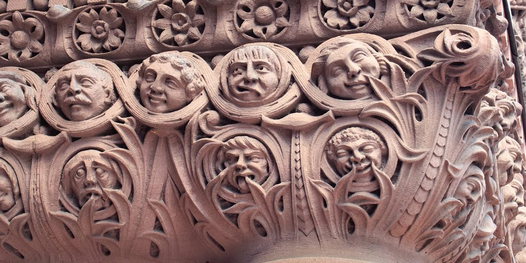 Carved personally and installed in secret by Lennox, architect for the late and over budget 'Richardsonian Romanesque Revival' structure and in financial dispute with the city council