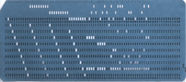 An 80 column punch card from 1964  Photo via Wikimedia Commons