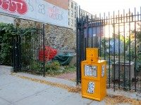 One of Debbie Ullman's New York Compost newspaper boxes. Courtesy of nycompostbox.com.