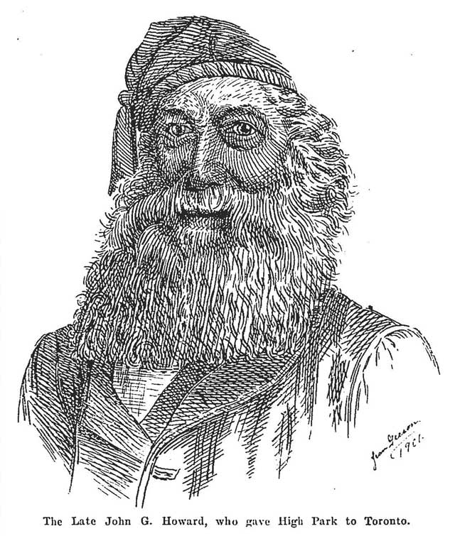 Kind of looks like Santa Claus, doesn't he? Sketch of John Howard, the Globe, July 12, 1902