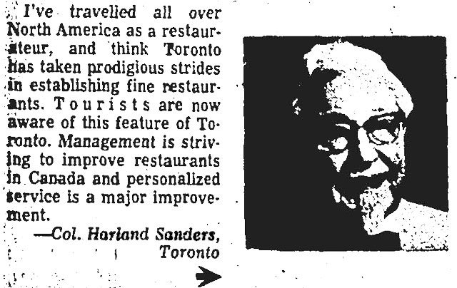 """Colonel Sanders as a man on the street, interviewed for the March 27, 1968 edition of the Star's """"The People Say"""" column  The question: """"What's wrong with Metro Toronto restaurants? Asked at a convention of the Canadian Restaurant Association """""""