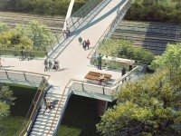 Bird's-eye view of the southern corridor of the Fort York pedestrian and cycle bridge.