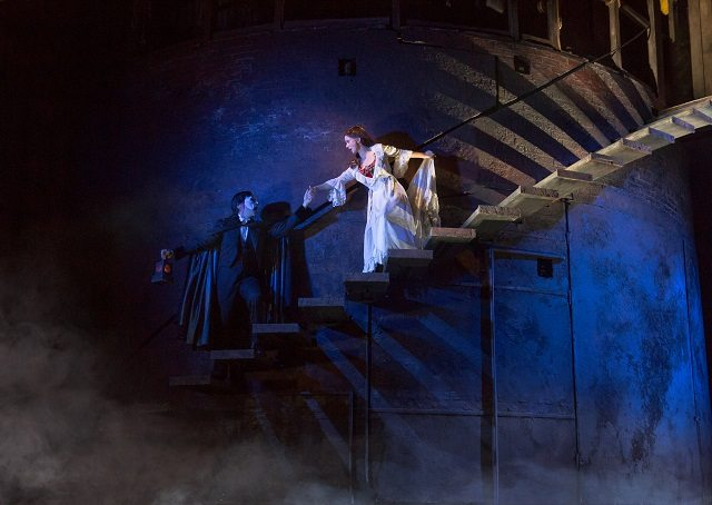 Chris Mann as the Phantom leads Christine (Katie Travis) to his underground lair in the new touring production of Andrew Lloyd Webber's The Phantom of the Opera  Photo by Matthew Murphy