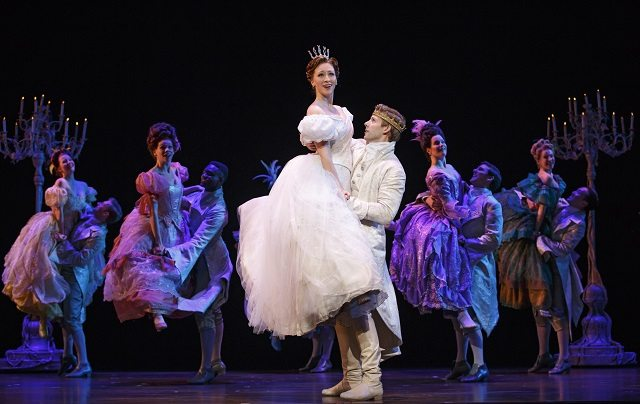 Ella (Kaitlyn Davidson) gets a lift from Prince Topher (Andy Huntington Jones) in the touring Broadway production of Rodgers and Hammerstein's Cinderella  Photo by  Carol Rosegg