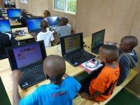 Inside the DigiTruck at Tuleeni Orphanage. Courtesy of Arrow Electronics.