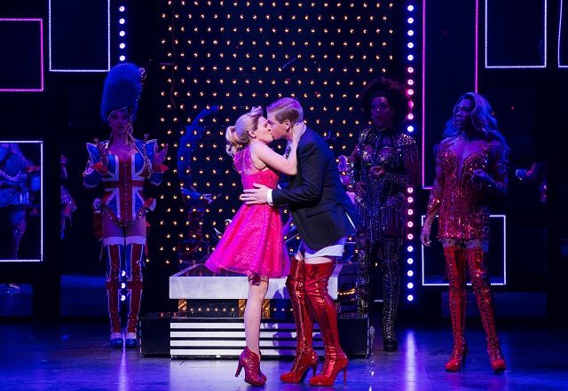AJ Bridel and Graham Scott Fleming smooch in the Canadian production of Kinky Boots   Photo by Cylla von Tiedemann