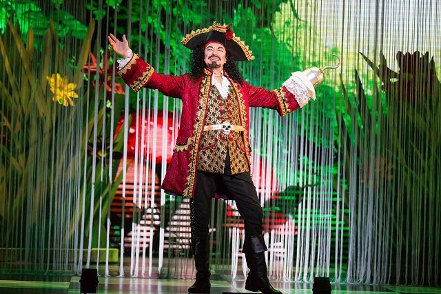 Panto king Ross Petty takes his final boos as Captain Hook in this year's musical fairy tale, Peter Pan in Wonderland  Photo by Racheal McCaig Photography