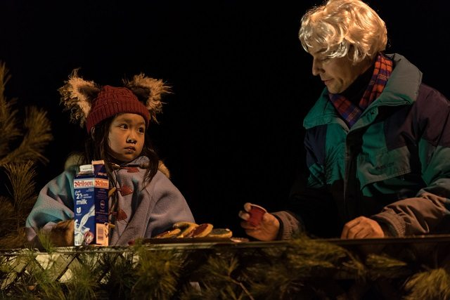 Eponine Lee's Billie commiserates with Courtenay Stevens's retired Santa over milk and cookies in Tails From the City  Photo by Neil Silcox