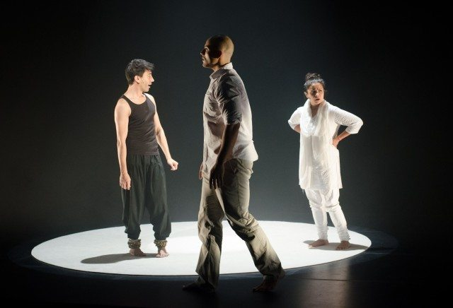 Left to right, Kawa Ada, Howard J. Davis, and Anusree Roy in Bombay Black. Photo by Joseph Michael.