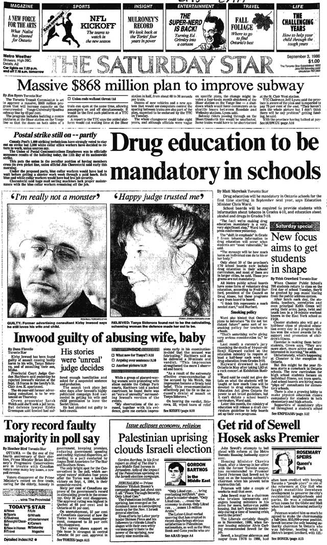 Front page, Toronto Star, September 3, 1988