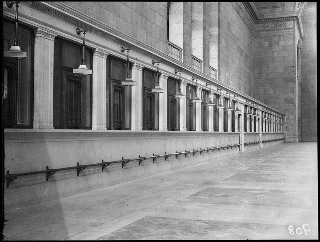Row of ticket offices at Union Station, during the period it was unused, June 13, 1923  City of Toronto Archives, Globe and Mail fonds, Fonds 1266, Item 908