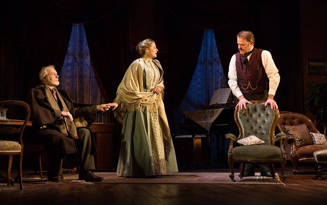 Ian McElhinney, left, Flora Montgomery, and Owen Teale star in the Mirvish revival of Gaslight, at the Ed Mirvish Theatre  Photo by Cylla von Tiedemann