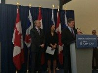 Senator Art Eggleton, Councillor Ana Bailao  and Mayor John Tory present the final report from the TCHC task force. Credit: Catherine McIntyre