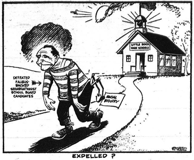 Editorial cartoon depicting the defeat of segregationist school board members in Little Rock, Arkansas  The Telegram, May 28, 1959