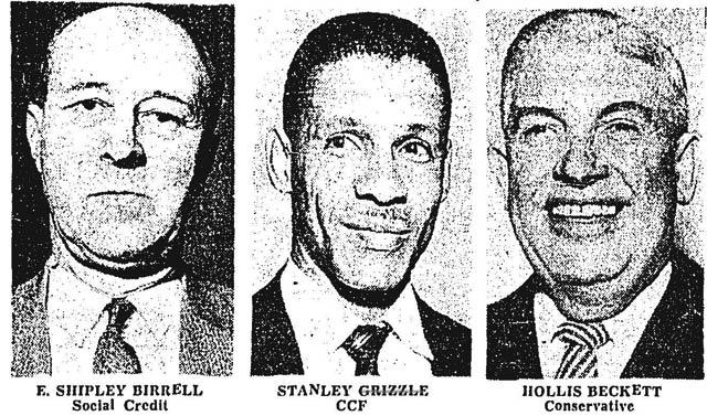 Stanley Grizzle and other York East candidates, Toronto Star, June 6, 1959