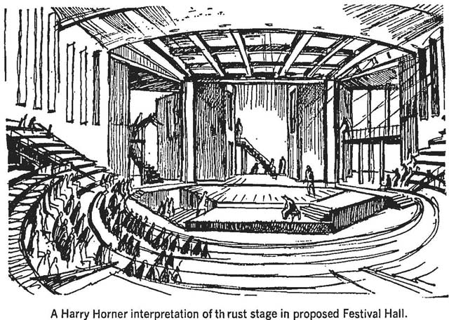 Sketch of a proposed theatre inside the St  Lawrence Centre, Globe and Mail, March 20, 1965